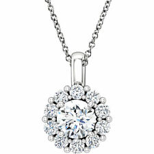 "14K White 6.5mm Round Forever One™ Moissanite & 5/8 CTW Diamond 16-18"" Necklace"