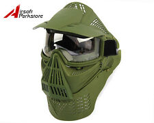 Airsoft Tactical Piantball Full Face Guard Mask with Goggles&Neck Protect OliveD