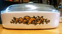 "Vintage Corning Ware Natures Bounty 10"" P-16-B Pyrex w/ Lid P-12-C Mushrooms VG"