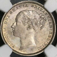 1885 NGC MS 64 Victoria Silver Shilling GREAT BRITAIN Coin (17041701CZ)