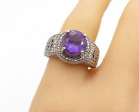 925 Sterling Silver - Round Cut Amethyst Ornate Detail Band Ring Sz 9 - R15687