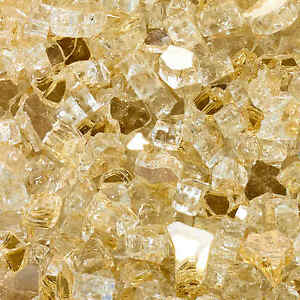 """High Luster, 1/2"""" Reflective Tempered Fire Glass in Sunstorm Gold -10 Pounds"""