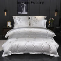 Silk Cotton Luxury Butterfly Bedding Set Queen King Size Embroidery Duvet Cover