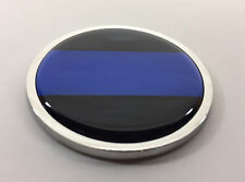 THIN BLUE LINE FOP 3D Domed Emblem Badge Car Sticker METAL Chrome Bezel 3 3/8""