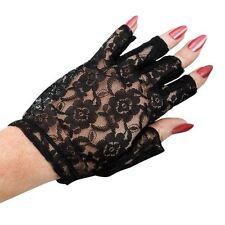 Gants et moufles noir en dentelle, taille unique pour femme