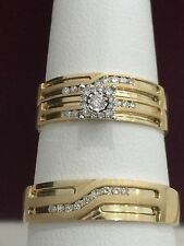 10 Yellow Gold His Her Men Woman .40 Ct Diamond Wedding Ring Bands Trio Set