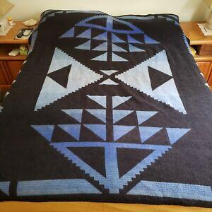 Vintage Biederlack Cuddle Wrap Blue Geometric Zip Snap Camp Reversible Blanket