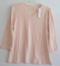 NWT!-BY CHICO'S 3/4 SLEEVE VNECK TOP/TEE-SZ 3(L/XL)-PALE DOGWOOD-COTTON-NICE!