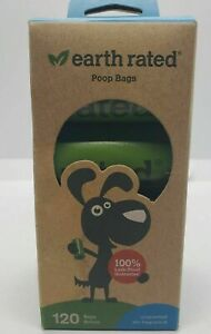 Earth Rated Poop Bags Unscented 8 Rolls - 120 Count 100% Leak Proof NEW
