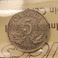 1926 Canada 5 Cents AU-50 ICCS - Near 6 variety. BV $250