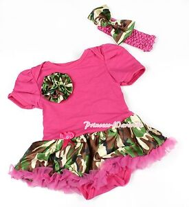 Toddler Hot Pink Bodysuit Jumpsuit Camouflage Camo Rose & Girl Baby Dress NB-12M