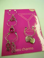Tickled PINK Breast Cancer GLASS CHARMS Wedding Party