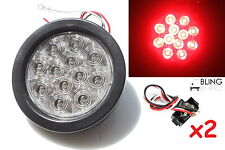 """2 CLEAR  LENS RED LED 4"""" ROUND STOP TURN TAIL LIGHT GROMMET PLUG TRUCK TRAILER"""