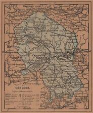 Córdoba. Córdoba. Andalucía. mapa antiguo de la provincia 1905 Antiguo Viejo