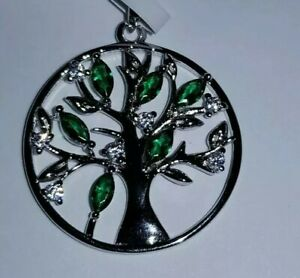 925 STERLING SILVER RHODIUM PLATED EMERALD SAPPHIRE TREE OF LIFE PENDANT...