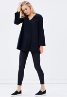 MLM THE LABEL 'Shale' Black V-Neck Cut Out Bell Sleeve Tunic Top BNWT - Size M