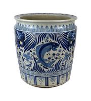 "Large Blue and White Fish Motif Porcelain Large Planter Bowl 18"" Diameter"