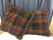 Pair of Chenille Plaid Large Throw Pillows Decorative Couch Pillows with Fringe