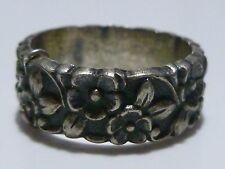 MINT CONDITION STERLING SILVER FLORAL FLOWER WEDDING ENGAGEMENT DECO RING BAND