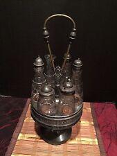 Antique 1800's Meriden Silver Plate Co. Revolving Cruet castor condiment Holder