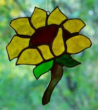 FREE FLOWING Organic SUNFLOWER Stained Glass SUNCATCHER Gardeners Floral Gifts