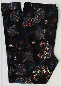 OS LuLaRoe One Size Leggings Gorgeous Dark Teal Paisley on Black NWT E38