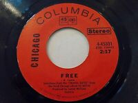 Chicago Free / Free Country 45 1971 Columbia Vinyl Record