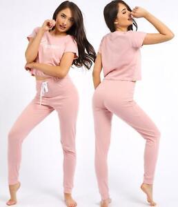 Women 2 Piece PJ Set Nightwear Tee Jogger Cotton Pyjamas Size 8 10 12 14 Pink