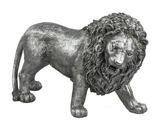 Deko Löwe Katze Silber Leopard Skulptur Afrika Tier Figur Tiger Panther Objekt