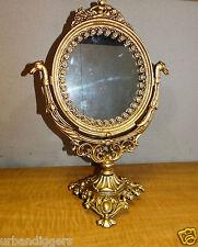 12353/ Vintage Cast Gold  Vanity Mirror on Stand ~ Makeup / Shaving estate item