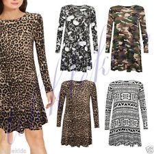 Animal Print Viscose Long Sleeve Skater Dresses for Women