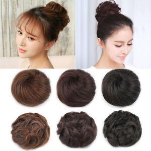Women Clip In Hair Bun Wrap Hairpiece Hair Extension Messy Curly Bun Scrunchie