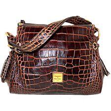 Dooney and Bourke Croco Fino Medium Hobo Brown T'moro Embossed Alligator Leather