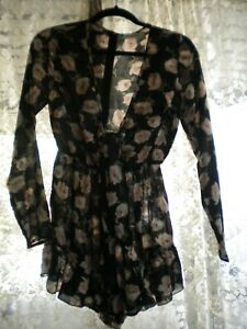 REVERSE SIZE M LADIES SHEER PLAYSUIT WITH TIE FRONT