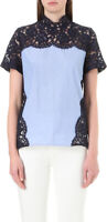 Sandro Paris Blue Effie Cotton & Lace Inset Short Sleeve Blouse Top SZ 3 L