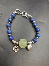 Sterling Lapiz And Jadeite Beautiful Bracelet And Earrings