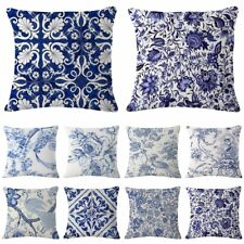 """18""""Pillow Case Blue White Linen Waist Throw Cushion Cover Home Car Decor"""