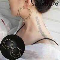 Dangle Round Jewelry Earring Gold Big Personality Drop Hexagon Circle Hoop Women