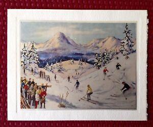 UNUSED Deckle Edge Mountain Skiing Skiers People Mid-Century Vintage Xmas Card