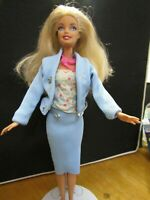 BARBIE DOLL BLONDE HAIR COTTON TOP BLUE SUIT & PINK SKIRT HIGH HEELS