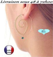 Boucle d'oreille Femme tendance spirale  Boho Bohème Dorée  zirco vert   T14