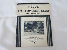 1932 Revue de L'Automobile Club de Monaco Program Book Grand Prix Rallye +