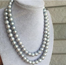 36 INCH NEW 9-10 MM NATURAL TAHITIAN GRAY PEARL NECKLACE