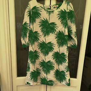 White Stuff White Green Palm Print Tunic Shirt Top Linen Effect 3/4 Sleeve BNWOT