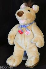 "Bobtail 12"" Brown CHESTER Teddy Bear w/ Pig Bell Necklace NEW NWT"