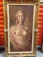 "Leo Jansen Original Signed Nude Oil Painting,""Rebecca""-Verification back canvas"