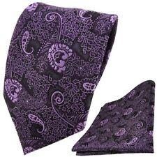 TigerTie DESIGNER Krawatte Einstecktuch lila violett Flieder Paisley gemustert