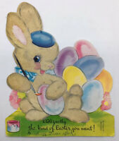 Vintage Mid Century Standing Easter Card Flocked Fuzzy Bunny Painting Eggs Beret