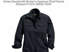 Harley-Davidson Applique Plaid Flannel Relaxed Fit Shirt, 99035-18Vw 2X-large