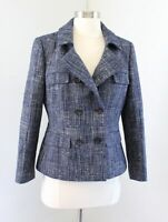 Banana Republic Navy Blue White Tweed Double Breasted Blazer Jacket Size 8 Linen